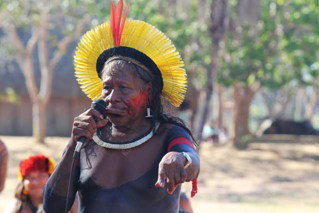Chief Raoni has called for support to pressure the Brazilian government to protect his people's lands against armed thugs sent to intimidate them.