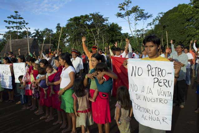 Achuar indigenous people protest oil exploration in Peru