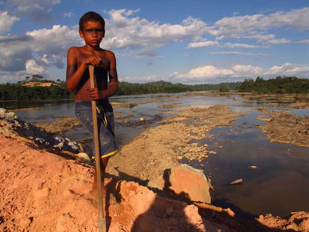 Arara child at an occupation of one of Belo Monte's principal work camps in July 2012. Photo credit: Atossa Soltani