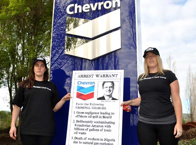 Protesting at Chevron's AGM