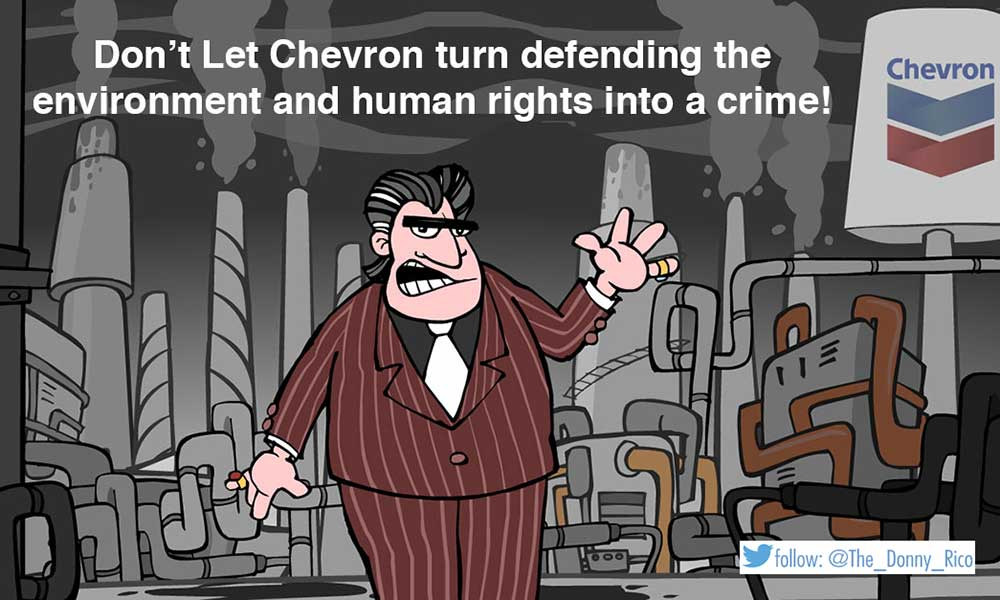 .@The_Donny_Rico exposes @Chevron's abuse of justice & #freespeech attacks to avoid clean-up in Ecuador