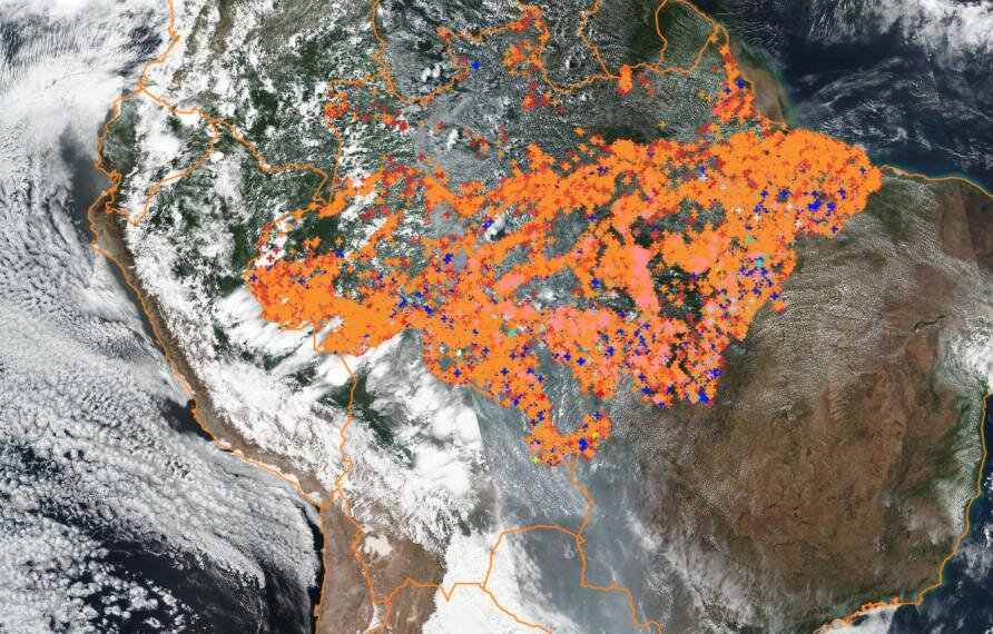 Fires recorded across the Amazon between August 1st and September 11th, 2019. Credit: INPE