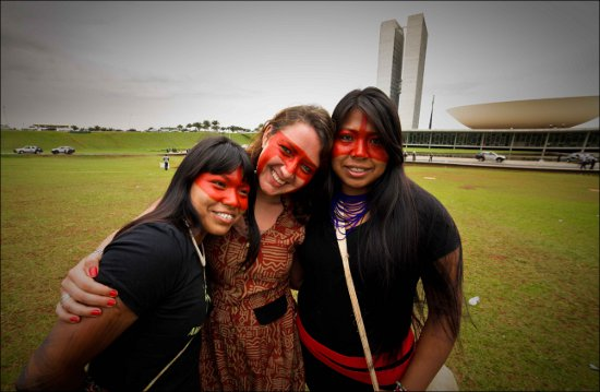 Mayalu, with her sister Matavitsa and Maira Irigaray-Castro at National Indigenous Mobilization in Brasilia in October