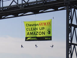 Amazon Watch and RAN Demand Justice from Chevron, Hundreds of Feet in the Air