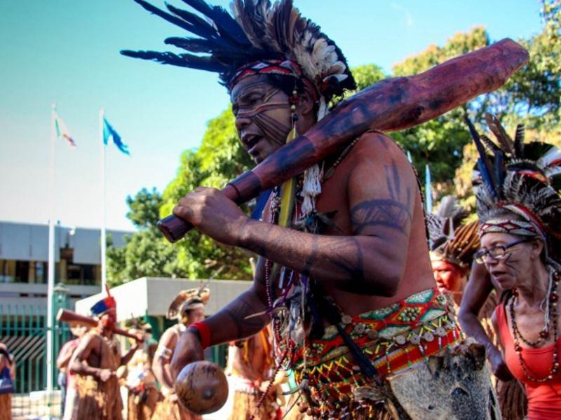 Indigenous People Protest Against the Violation of Their Rights in Front of Brasilia Embassies