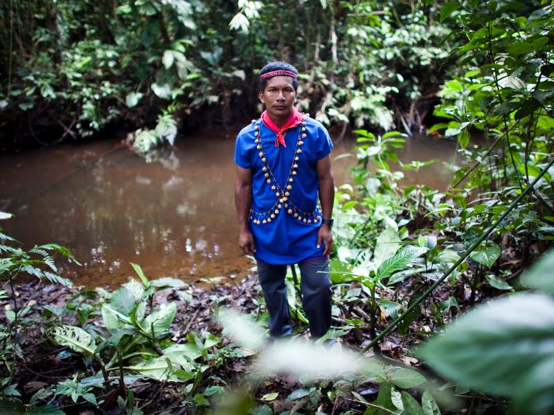 Members of the Cofán Dureno community in northern Ecuador have suffered numerous problems from oil production on their lands. Laura Mendo, 59, recalls a time when the Cofán wandered freely and lived off the land. Now the rivers are contaminated, crops don't grow, and new illnesses and cancer have been introduced. Photo credit: Amazon Watch