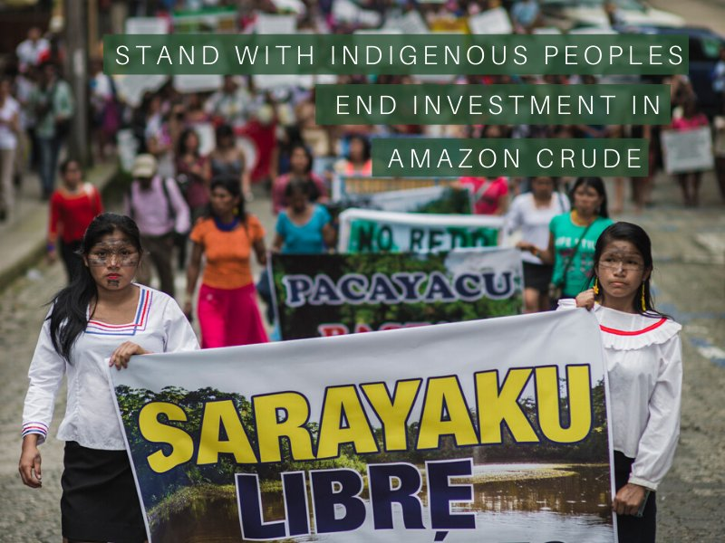 New Amazon Watch Report Highlights Links Between Big Finance, Amazon Crude Oil Extraction, and Indigenous Rights Violations