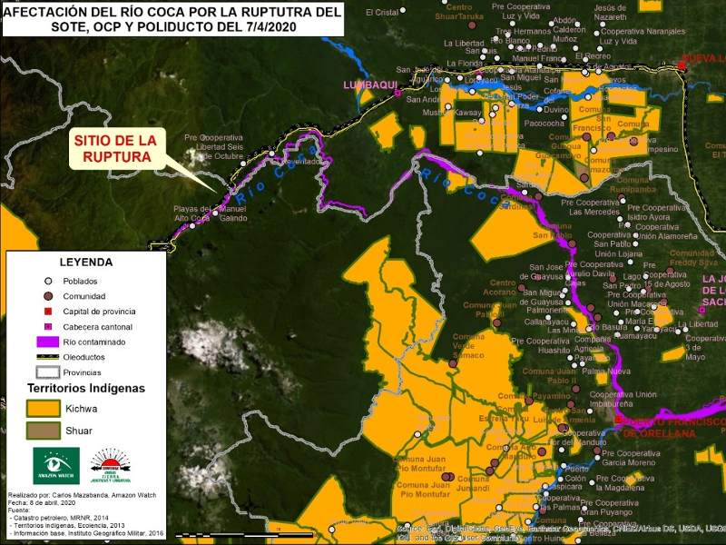 Oil Spill Along the Coca and Napo Rivers Affects Ecuadorian Indigenous Communities
